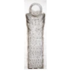 Čtoucí anděl / 2008 / akryl, vrstvený papír / 300 x 100 cm