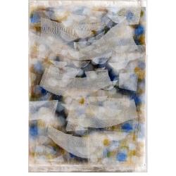 Milosti / 2011 / akryl, vrstvený papír, gáza / 110 x 180 cm